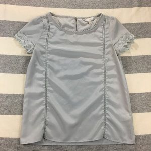 Lauren Conrad Runway XS Gray Lace Trim Top